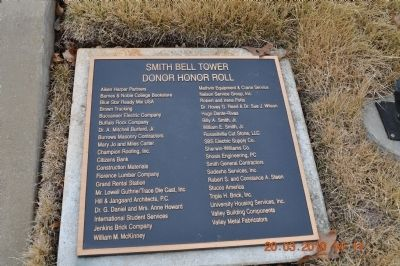 Smith Bell Tower Donor Honor Roll image. Click for full size.