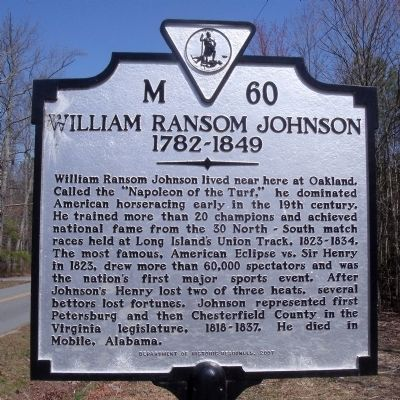 William Ransom Johnson Marker image. Click for full size.