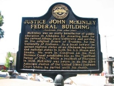 Justice John McKinley Federal Building Marker/Reverse side image. Click for full size.
