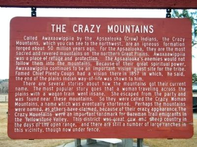 The Crazy Mountains Marker image. Click for full size.