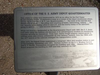 Office of the U. S. Army Depot Quartermaster Marker image. Click for full size.