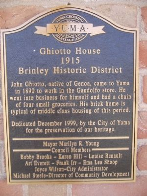 Ghiotto House Marker image. Click for full size.