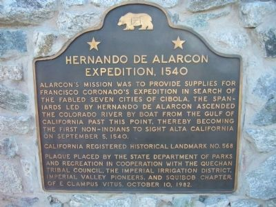 Hernando De Alarcon Expedition Marker image. Click for full size.