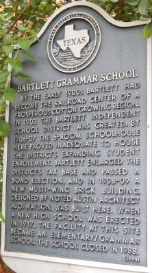 Bartlett Grammar School Marker image. Click for full size.
