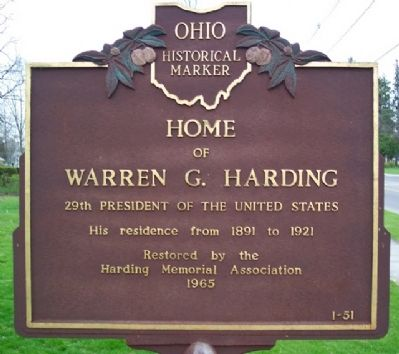 Home of Warren G. Harding Marker image. Click for full size.