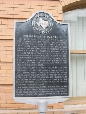 Forrest Lodge No. 19, A.F. & A.M. Marker image. Click for full size.