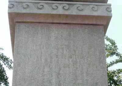 Daniel Webster Memorial - close-up of fading quotation on upper east face of the statue's base: image. Click for full size.