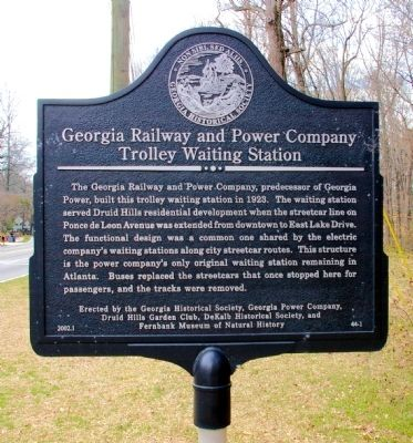 Georgia Railway and Power Company Trolley Waiting Station Marker image. Click for full size.