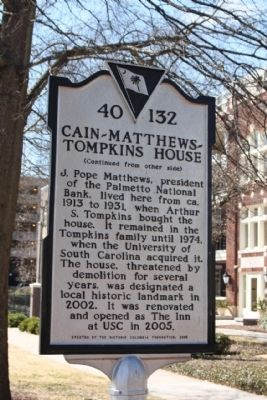 Cain- Matthews- Tompkins House Marker, reverse side Photo, Click for full size