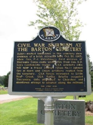 Civil War Skirmish at The Barton Cemetery Marker image. Click for full size.