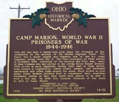 Camp Marion, World War II POW Marker (Side A) image. Click for full size.