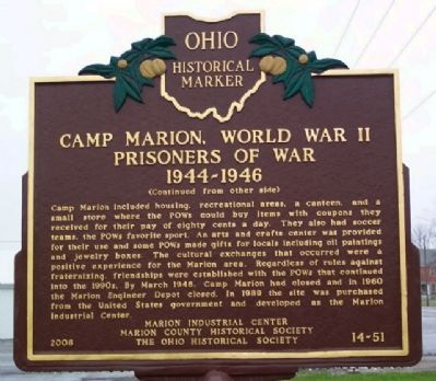 Camp Marion, World War II POW Marker (Side B) image. Click for full size.