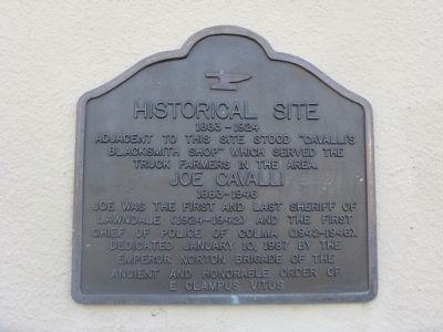 Joe Cavalli – Historical Site Marker image. Click for full size.