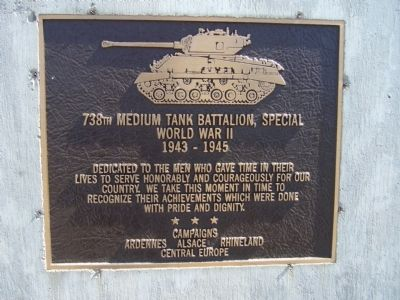 738th Medium Tank Battalion, Special Marker image. Click for full size.