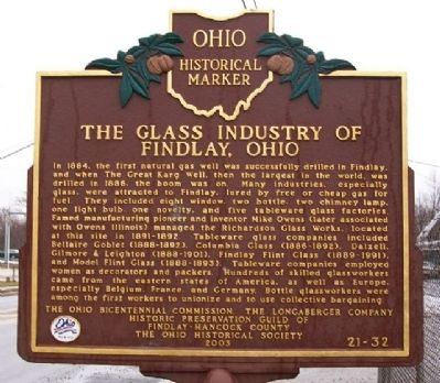 The Glass Industry of Findlay, Ohio Marker image. Click for full size.
