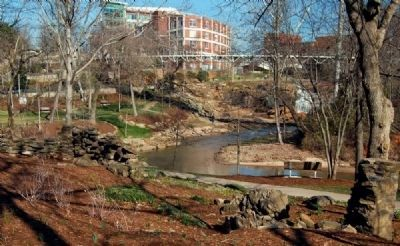 Old Mill Ruins with Falls Park in Background image. Click for full size.