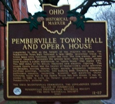 Pemberville Town Hall and Opera House Marker Photo, Click for full size