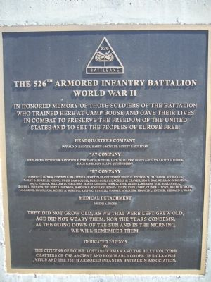 The 526th Armored Infantry Battalion Marker image. Click for full size.