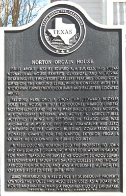 Norton-Orgain House Marker image. Click for full size.