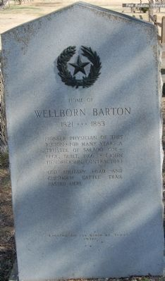 Home of Wellborn Barton Marker image. Click for full size.