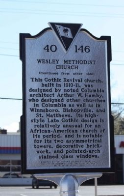 Wesley Methodist Church Marker, reverse side image. Click for full size.