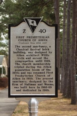 First Presbyterian Church of Aiken Marker, reverse side image. Click for full size.