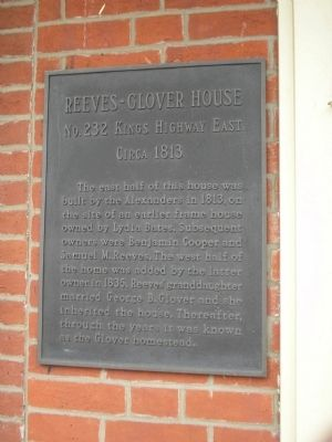 Reeves-Glover House Marker image. Click for full size.