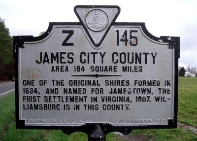 James City County Marker (reverse) image. Click for full size.