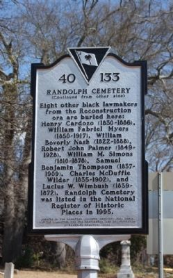 Randolph Cemetery Marker, reverse side image. Click for full size.
