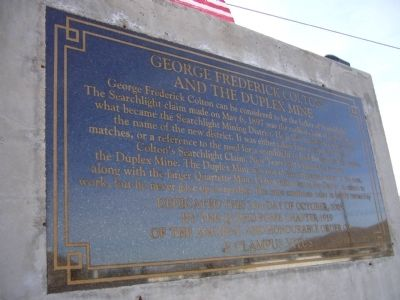 George Frederick Colton and the Duplex Mine Marker image. Click for full size.