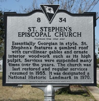 St. Stephen's Episcopal Church Marker reverse side Photo, Click for full size