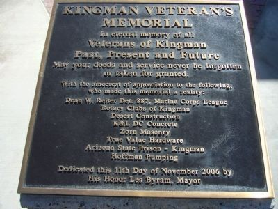 Kingman Veteran's Memorial Marker Photo, Click for full size