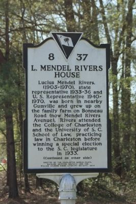 L. Mendel Rivers House Marker image. Click for full size.