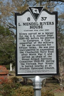 L. Mendel Rivers House Marker, reverse side image. Click for full size.