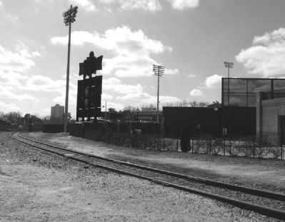 Railroad Tracks Snaking Around Flour Field<br>Home of the Greenville Drive image. Click for full size.