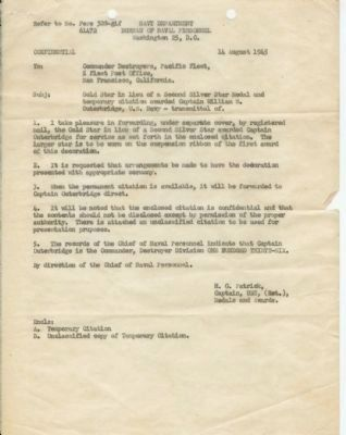 Cover letter for RADM Outerbridge's second Silver Star Citation Photo, Click for full size