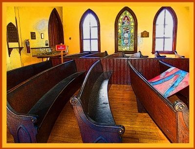 Chapel Pews and Gothic Stained Glass Windows Photo, Click for full size