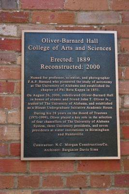 Oliver-Barnard Hall Marker image. Click for full size.