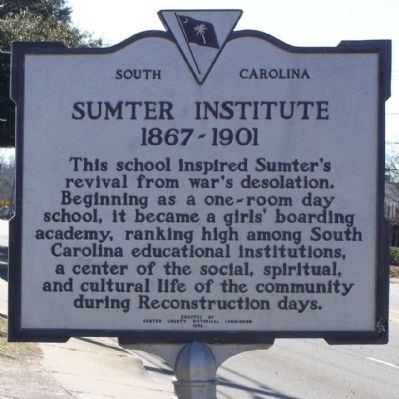 Sumter Institute Marker, reverse side image. Click for full size.