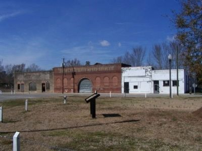 The Mayesville Story Marker with Historic Commercial stores in background image. Click for full size.