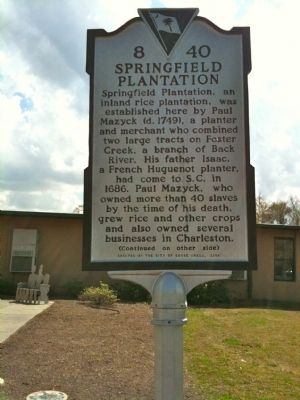 Springfield Plantation Marker (front) image. Click for full size.