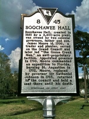 Boochawee Hall Marker (front) image. Click for full size.