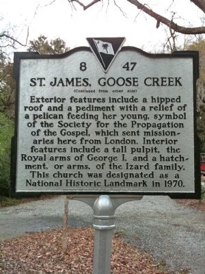 St. James, Goose Creek Marker (reverse) Photo, Click for full size
