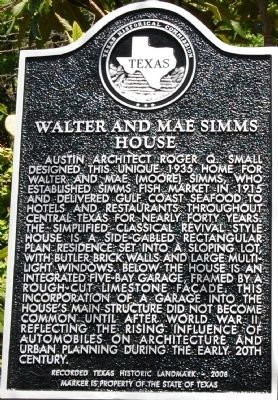 Walter and Mae Simms House Marker image. Click for full size.