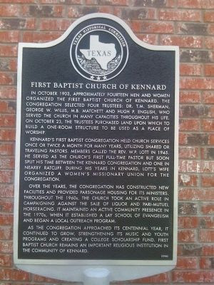 First Baptist Church of Kennard Marker image. Click for full size.