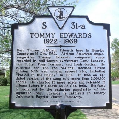 Tommy Edwards Marker image. Click for full size.