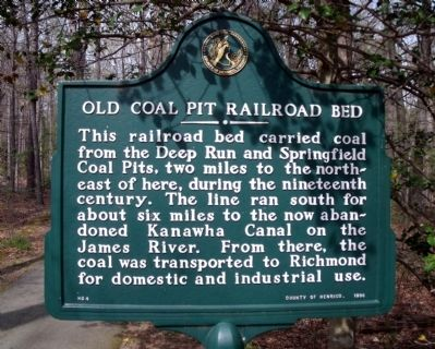 Old Coal Pit Railroad Bed Marker image. Click for full size.