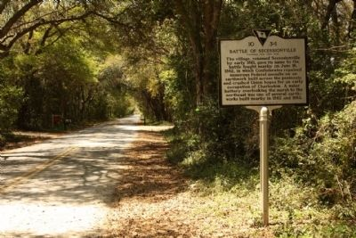Riversville / Battle of Secessionville Marker, looking back west along Fort Lamar Road image. Click for full size.