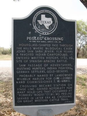 Pegleg Crossing on the San Saba Marker Photo, Click for full size