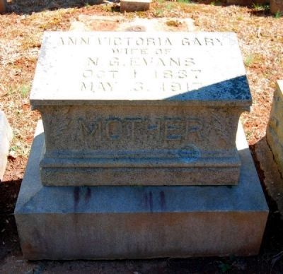 Ann Victoria Gary (1837-1917) Tombstone image. Click for full size.